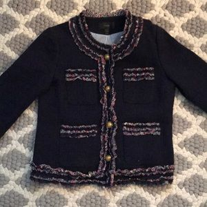 Tweed JCrew jacket with Liberty print accents
